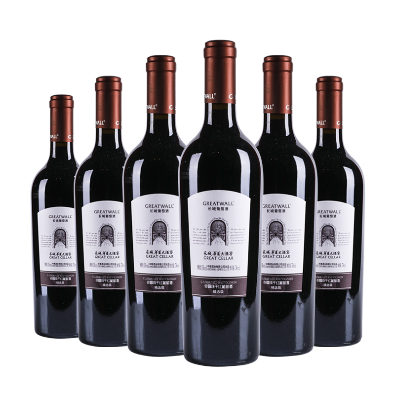 中国长城华夏大酒窖精选级赤霞珠干红葡萄酒750ml(6瓶装)