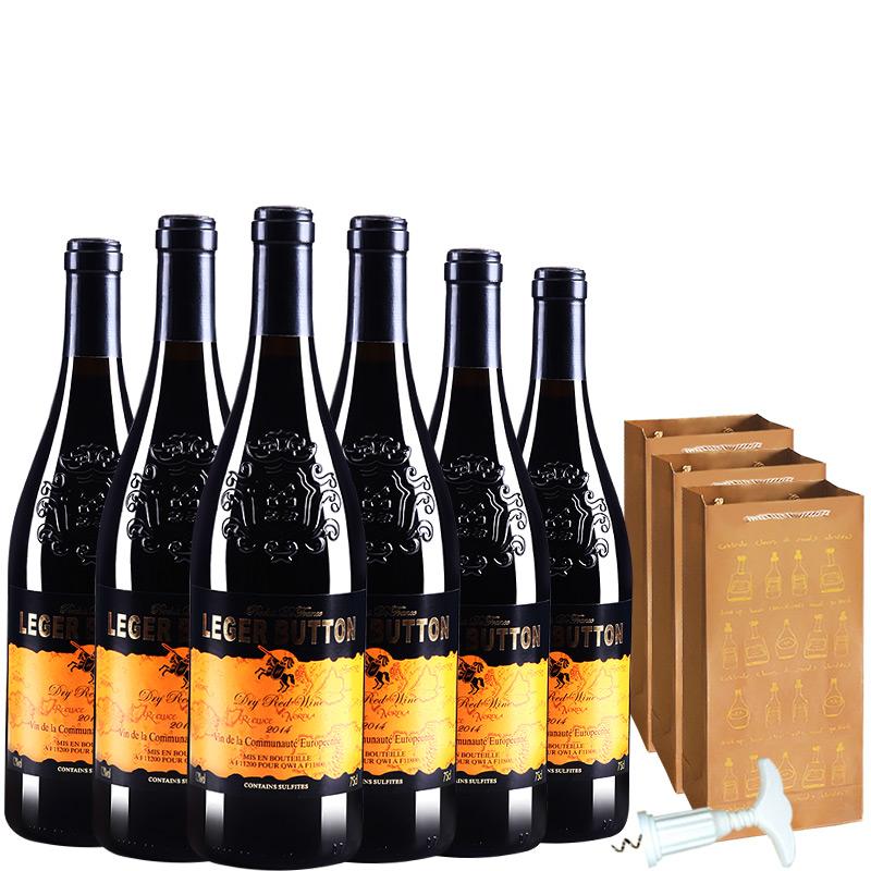 法国进口红酒朗格巴顿赤霞珠干红葡萄酒送礼袋送开瓶器750ml*6(整箱装)