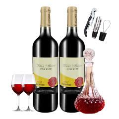 法国原瓶进口简爱公主红葡萄酒750ml*2瓶送酒具酒杯醒酒器