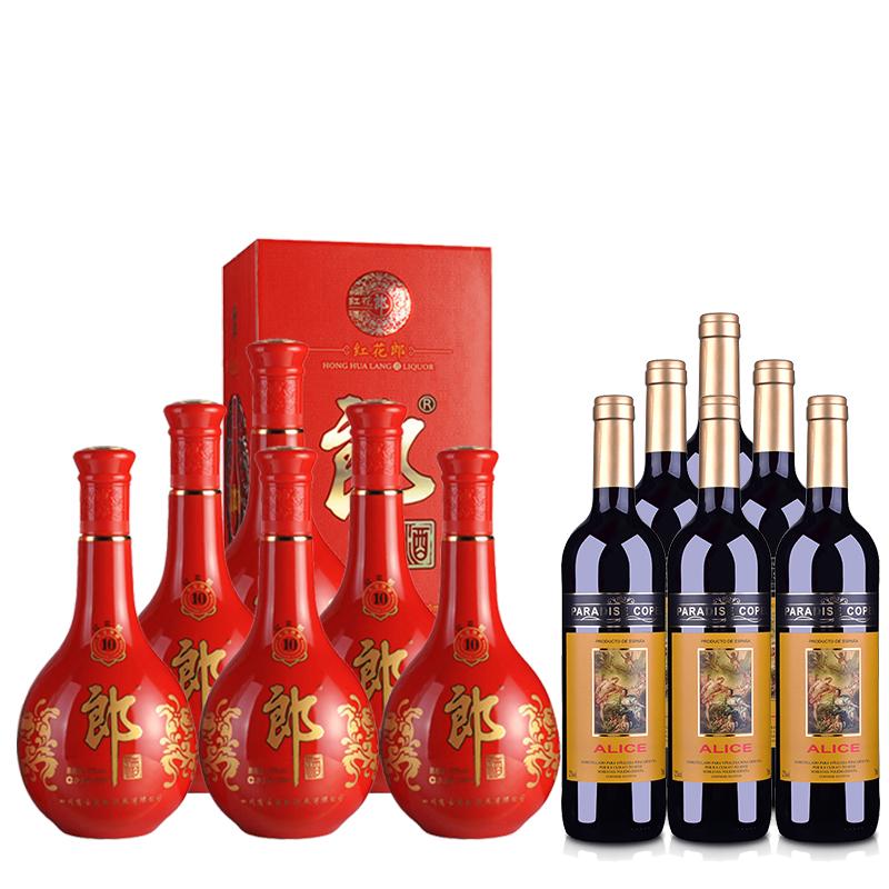 53°郎酒·红花郎十(10)500ml *6+西班牙红酒西班牙歌帕天堂·爱丽丝干红葡萄酒750ml *6