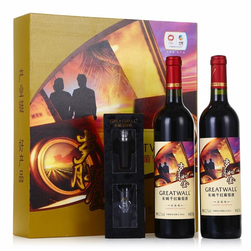 长城红酒 岁月如金干红葡萄酒 双支礼盒 750ml(2瓶装)