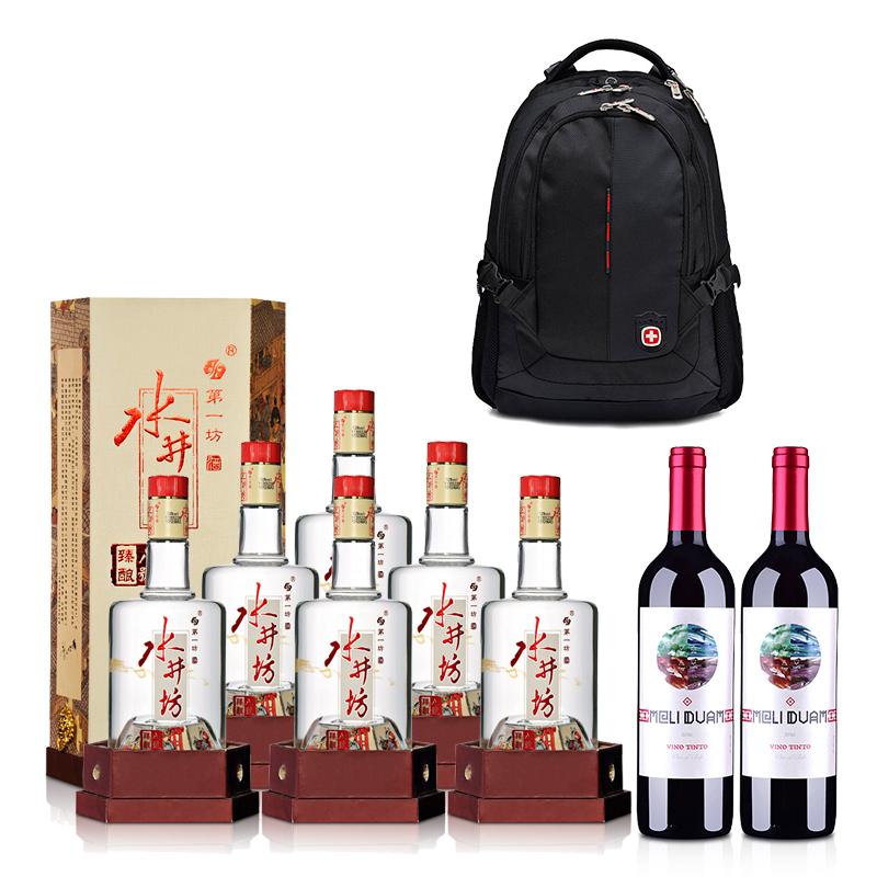 52°水井坊臻酿八号500ml*6+智利红酒智利魅利干红葡萄酒750ml*2+双肩电脑包