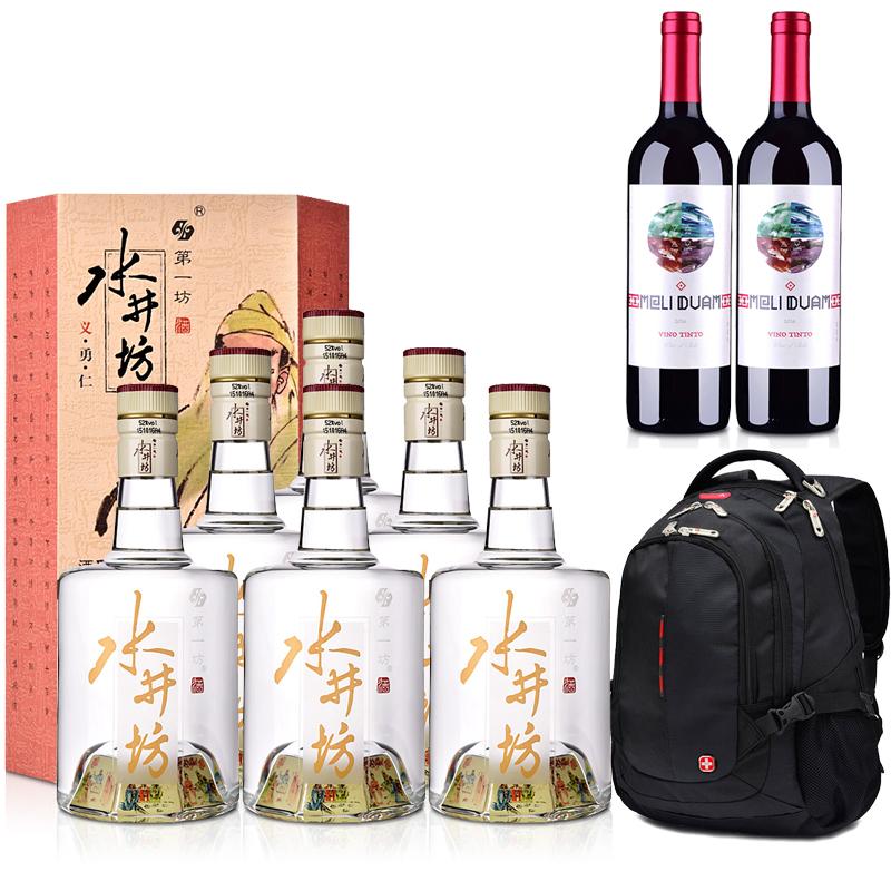 52°水井坊·三国系列(义勇仁)500ml*6+智利红酒智利魅利干红葡萄酒750ml*2+双肩电脑包