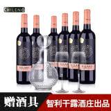 智利整箱红酒干露.克拉克干红葡萄酒750ml(6瓶装)+醒酒器+酒杯