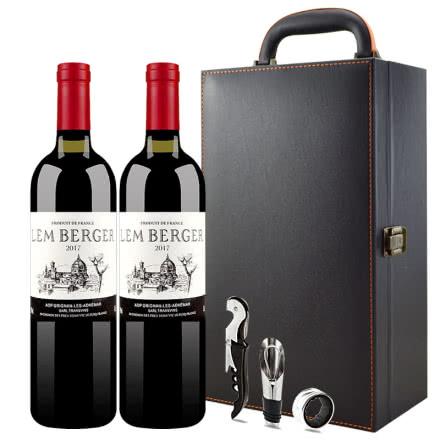 法国进口红酒 罗纳河谷小产区格里尼昂 AOP级干红葡萄酒750ml*2瓶高档皮具礼盒