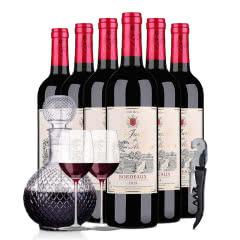 【送酒具大礼包】法国原瓶进口红酒 莫奈庄园波尔多AOP 干红葡萄酒750ml *6 整箱装
