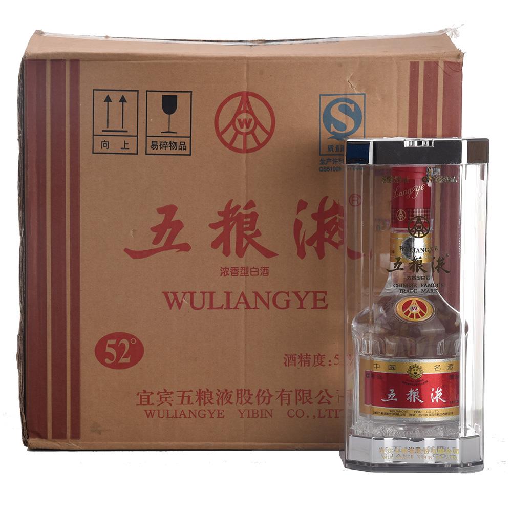 52°五粮液(晶质多棱瓶水晶盒)500ml(2010年-2015年)1箱6瓶
