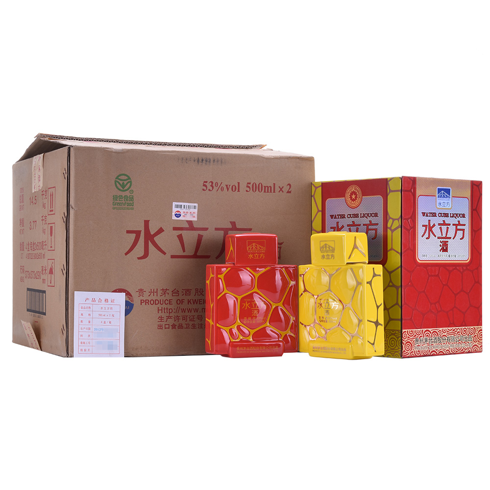 【老酒收藏酒】53°贵州茅台酒 水立方2*500ml(2012年)1箱4盒8瓶