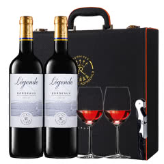 拉菲红酒 拉菲官方正品法国原瓶进口传奇波尔多干红葡萄酒红酒礼盒装750ml*2