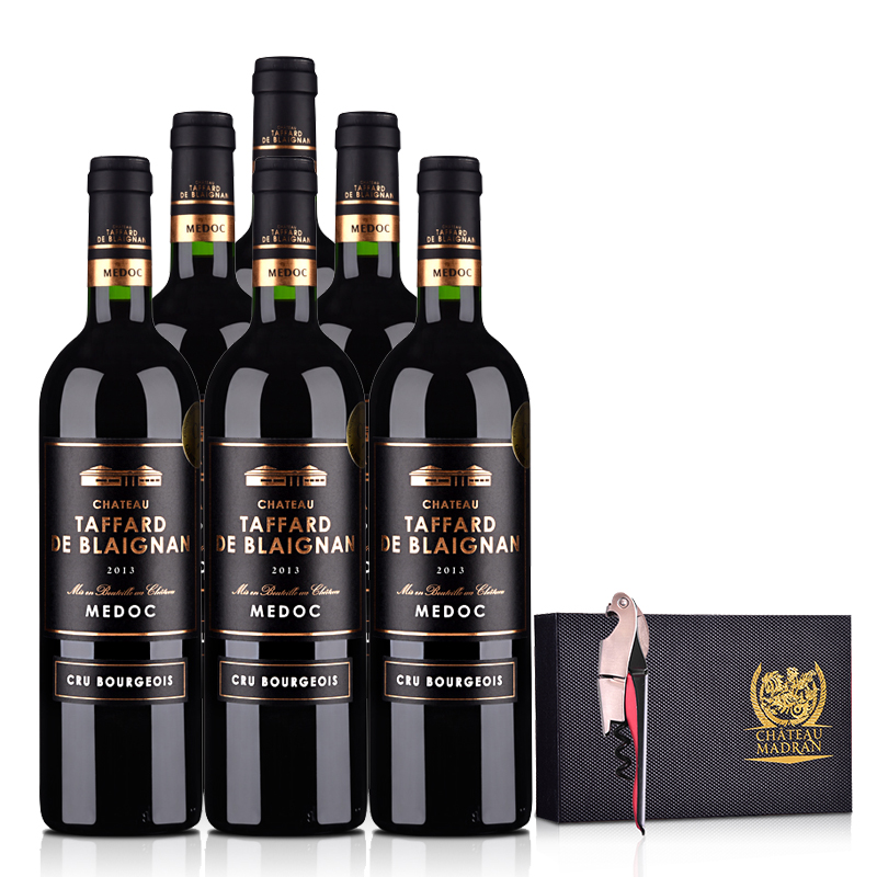 法国整箱红酒梅多克中级庄塔法干红葡萄酒750ml(6瓶装) +梦特骑士城堡酒刀套盒