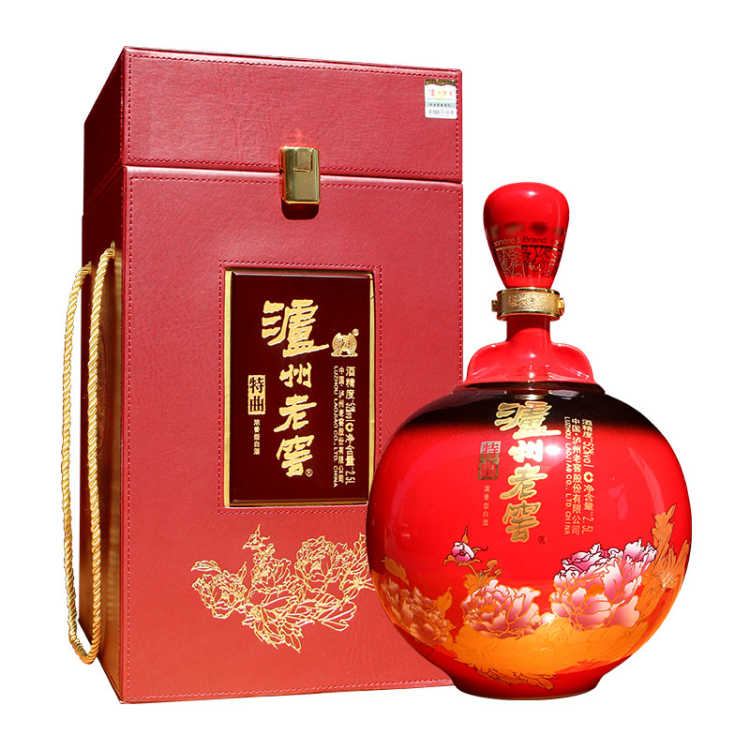 52°泸州老窖特曲藏品高端大坛皮质收藏礼盒装白酒2.5L