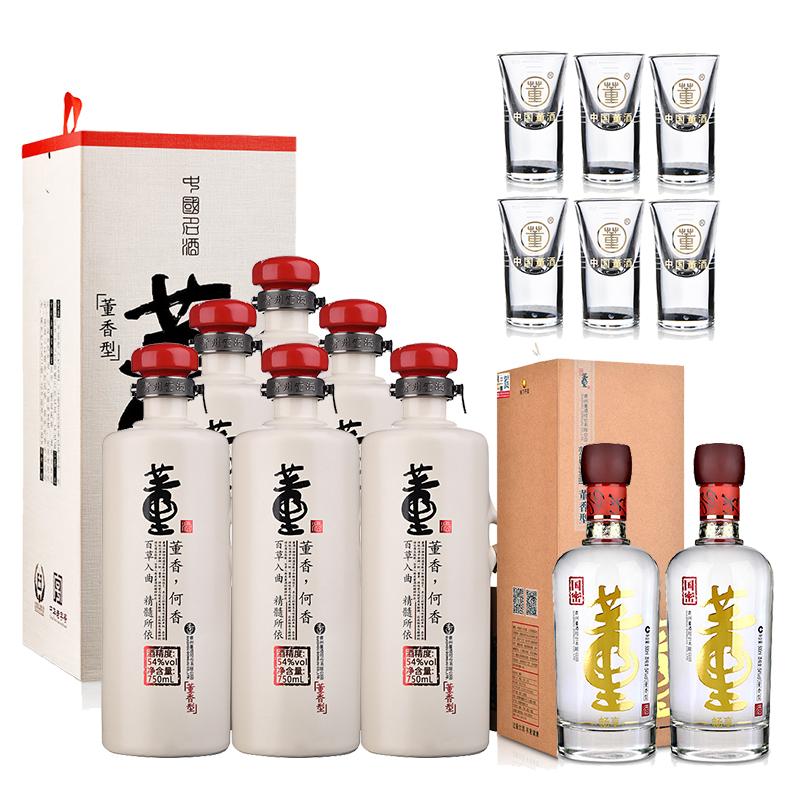 54°董酒何香750ml(6瓶装)+54°董酒(畅享版)500ml(双瓶装)+董酒酒具(乐享)