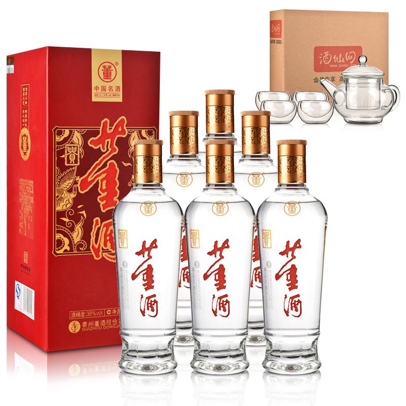 38°新贵董酒500ml(6瓶装)+茶具五件套(酒仙会员专享)