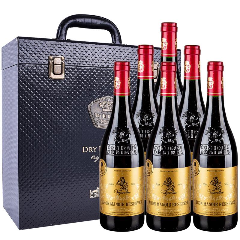 法国红酒(原瓶进口AOP级)爱龙庄园珍藏干红葡萄酒750ml*6瓶 皮盒款