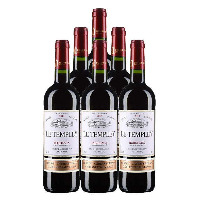 法国红酒法国杜隆波尔多坦普雷古堡2013AOC 750ml (6瓶装)