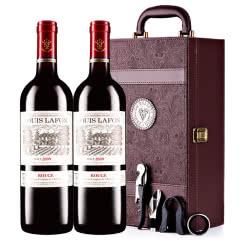 路易拉菲2009男爵古堡干红葡萄酒双支红酒礼盒装750ml*2