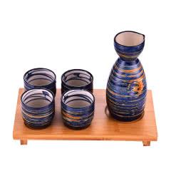 (含木架)清酒酒具 炫彩蓝一壶四杯