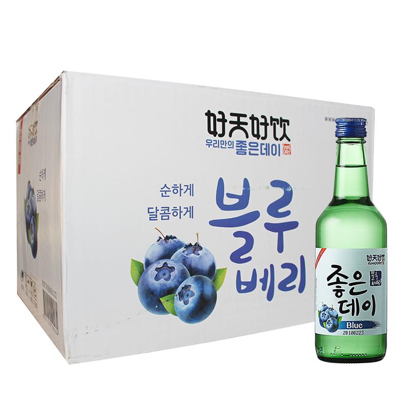 洋酒整箱特价 韩国烧酒 好天好饮清新水果味配制酒蓝莓味 360ml*20瓶