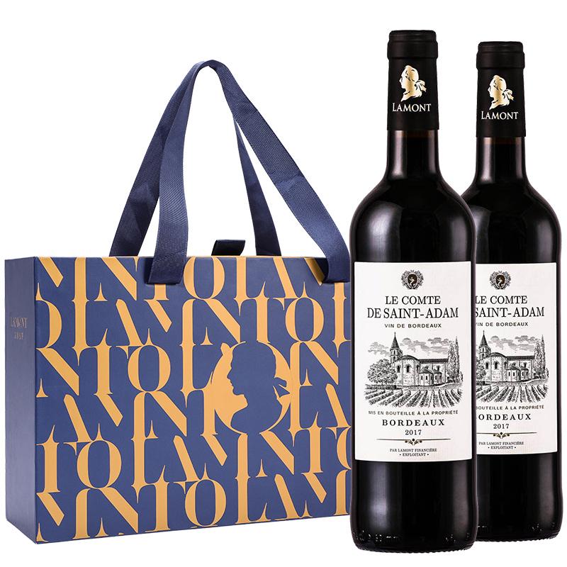 法国整箱装拉蒙圣亚当波尔多AOP干红葡萄酒双只礼盒装装750ml*2