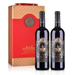 西班牙DO级安徒生美人鱼干红葡萄酒750ml(中国红双支礼盒含酒具四件套)