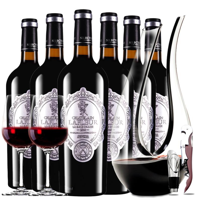 法国进口红酒拉斐天使酒园干红葡萄酒红酒整箱醒酒器装750ml*6