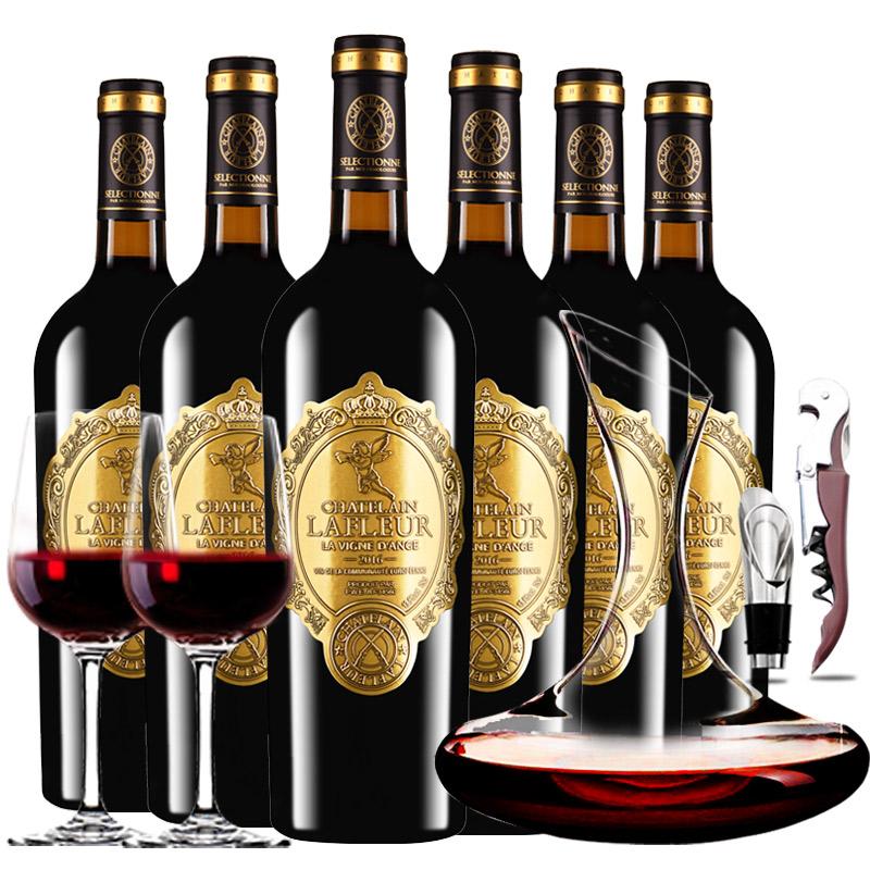 法国进口红酒拉斐天使庄园干红葡萄酒红酒整箱醒酒器装750ml*6