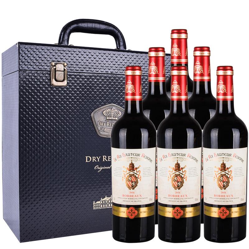 14度法国红酒原瓶进口豪多帝王干红葡萄酒750ml*6 礼盒款 波尔多AOC