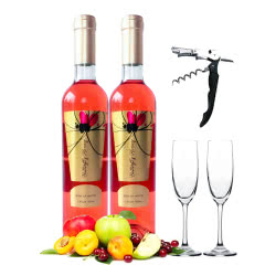 低度甜红葡萄酒甜型果味酒500ml*2(酒具礼包)