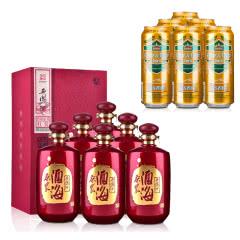 45°西凤酒海原浆红装纪念版500ml(2014年)*6+德国狮虎争霸比尔森啤酒500ml*6