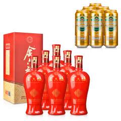 42°金六福六福临门500ml*6+德国狮虎争霸比尔森啤酒500ml*6
