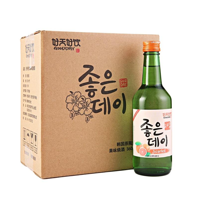 韩国进口好天好饮葡萄柚味13.5度配制酒360ml*6 整箱装