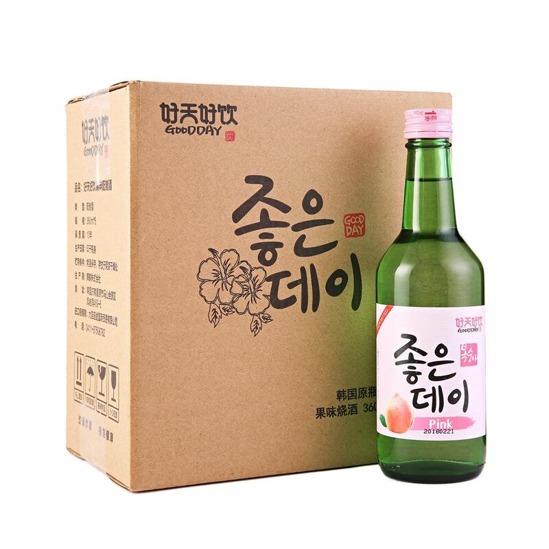 韩国进口好天好饮蜜桃味13.5度配制酒360ml*6 整箱装