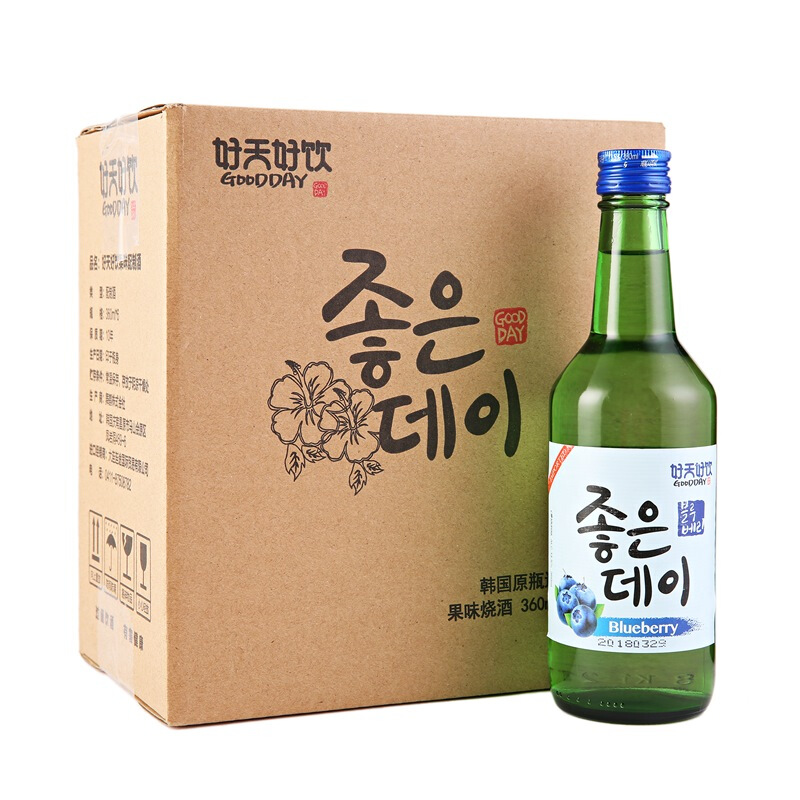 韩国进口好天好饮蓝莓味13.5度配制酒360ml*6 整箱装