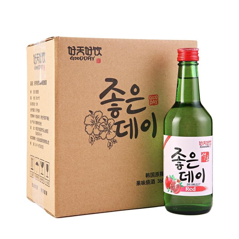 韩国进口好天好饮石榴味13.5度配制酒360ml*6 整箱装