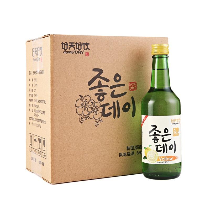 韩国进口好天好饮柚子味13.5度配制酒360ml*6 整箱装
