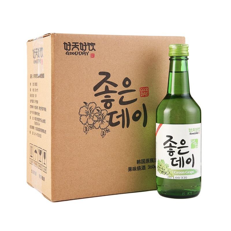 韩国进口好天好饮青葡萄味12.5度配制酒360ml*6 整箱装