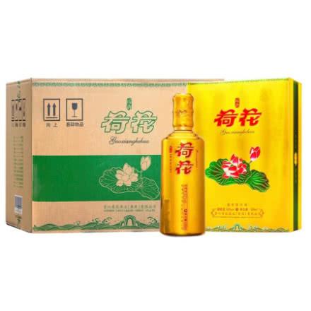 53度国乡荷花酒 金色礼盒 500ml+4个醴陵瓷杯   6瓶装(整箱)