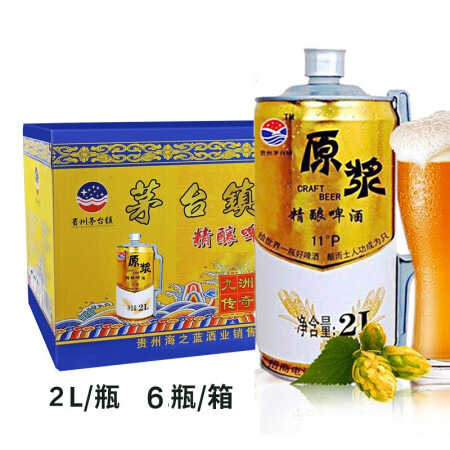 11°P九洲传奇原浆精酿啤酒2L*6易拉罐装啤酒整箱特价桶装扎啤