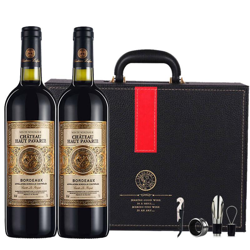 法国(原瓶进口)波尔多梅多克法定产区奥柏酒庄14度混酿干红葡萄酒750ml*2(红酒礼盒)