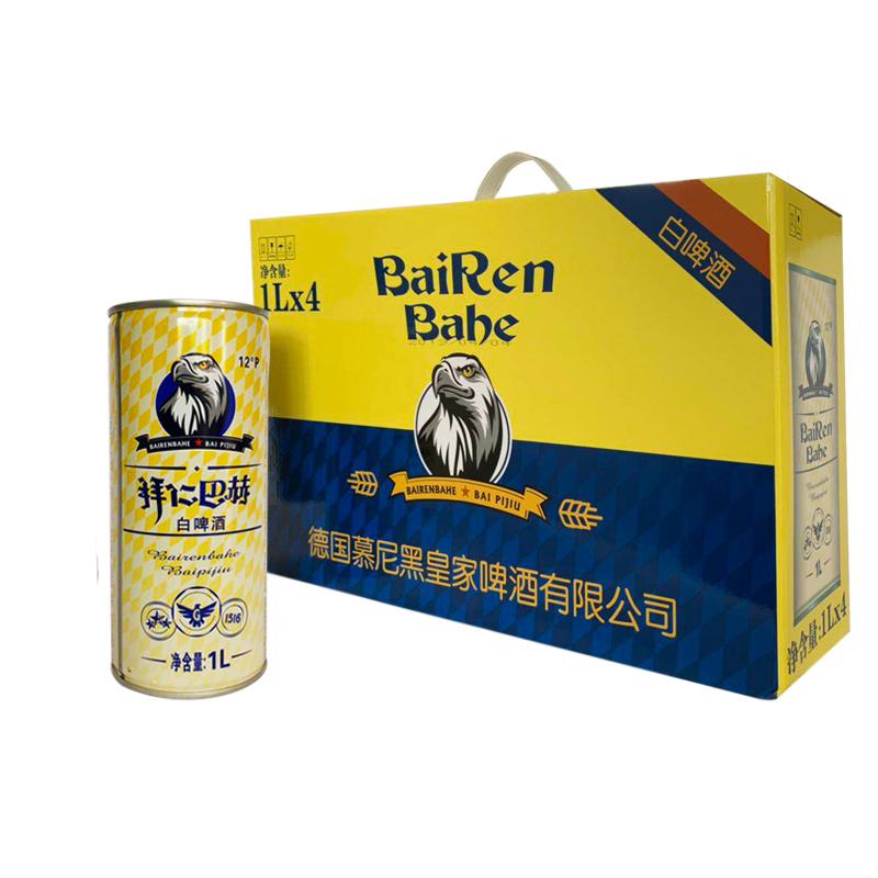 BAIRENBAHE白啤酒 德国工艺啤酒拜仁巴赫.艾尔1L*4听(整箱装)
