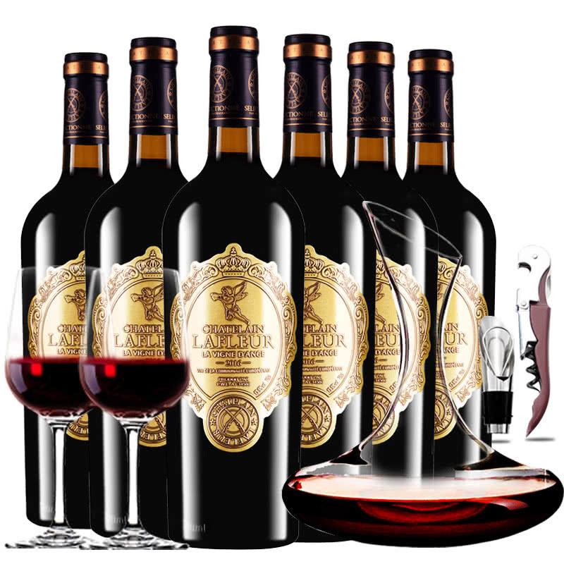法国原瓶进口红酒拉斐天使庄园干红葡萄酒红酒整箱醒酒器装750ml*6