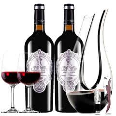 法国进口红酒拉斐天使酒园干红葡萄酒双支醒酒器装750ml*2