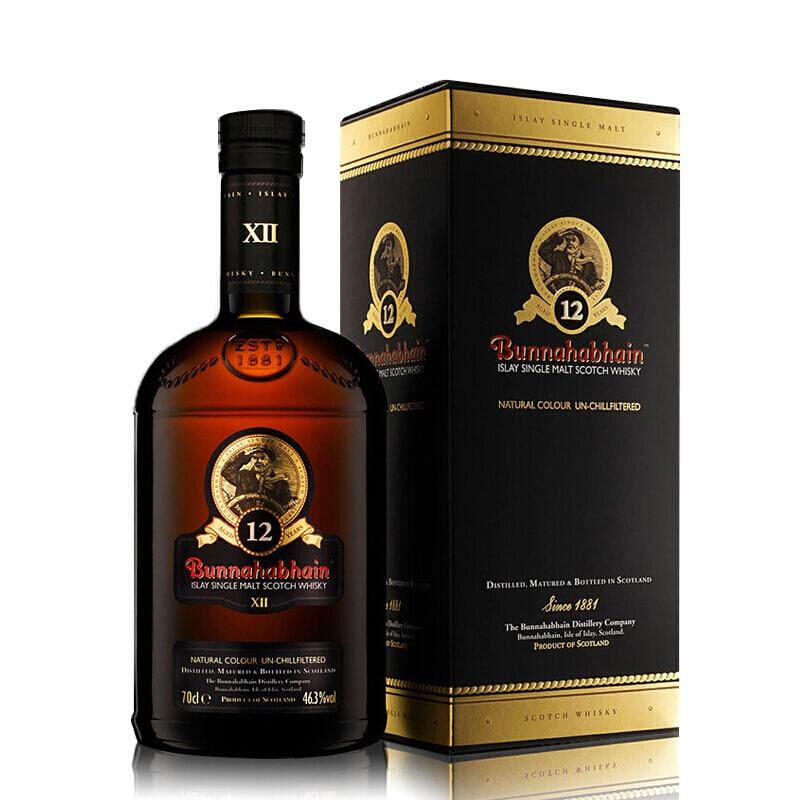 进口洋酒Bunnahabhain布纳哈本单一麦芽苏格兰威士忌 布纳哈本12年700ml