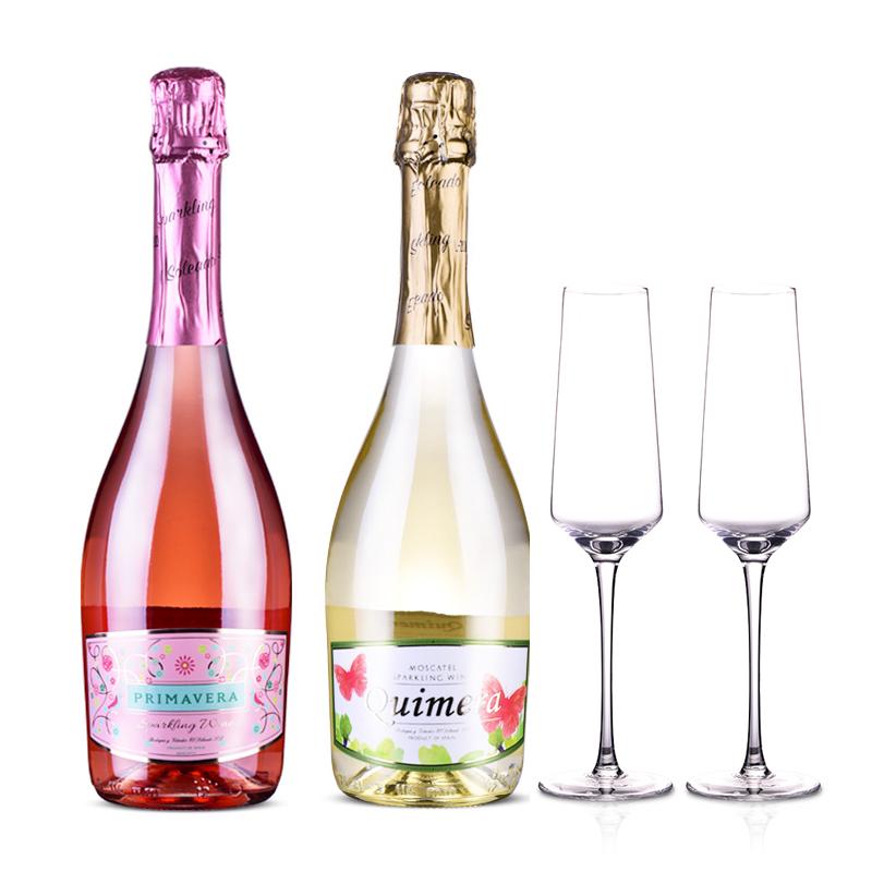 【红酒折扣日】西班牙春梦半甜起泡葡萄酒套装+清雅香槟杯双支
