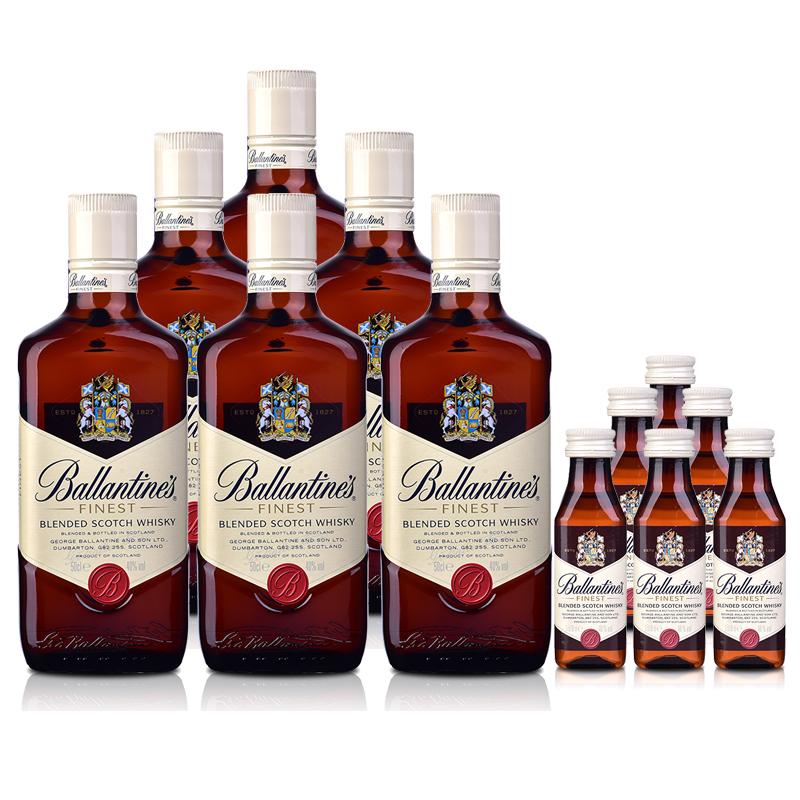 40°英国百龄坛特醇苏格兰威士忌500ml(6瓶装)+小酒50ml*6
