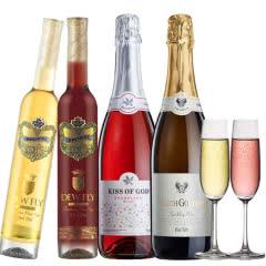 露飞红酒 甜型气泡酒莫斯卡托起泡酒750ml*2组合+冰酒(红+白)375ml*2送香槟杯