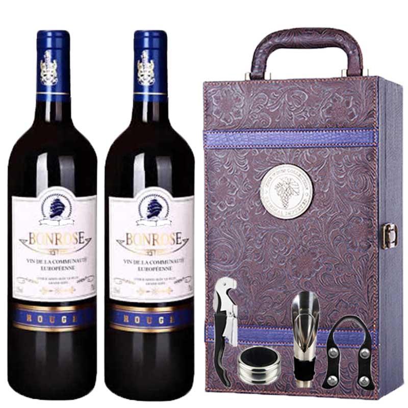 法国原瓶进口宾露干红葡萄酒红酒(蓝钻)凤尾礼盒装750ml*2