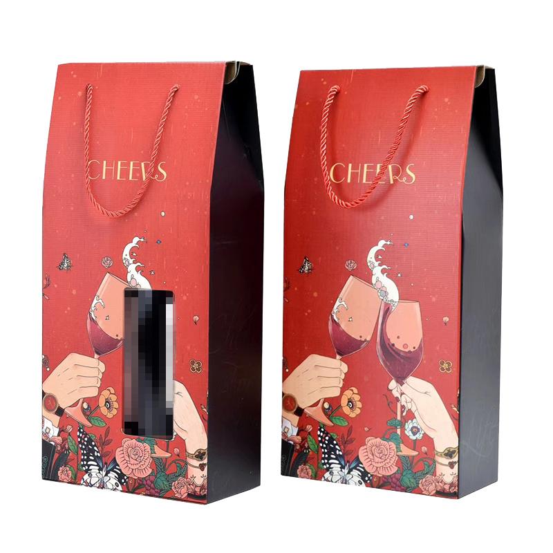 红酒双支硬质纸板礼盒,手拎袋式礼盒