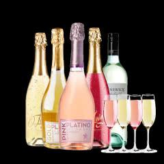 莫斯卡托桃红起泡酒气泡酒低醇甜酒葡萄酒朵玛气泡酒送香槟杯