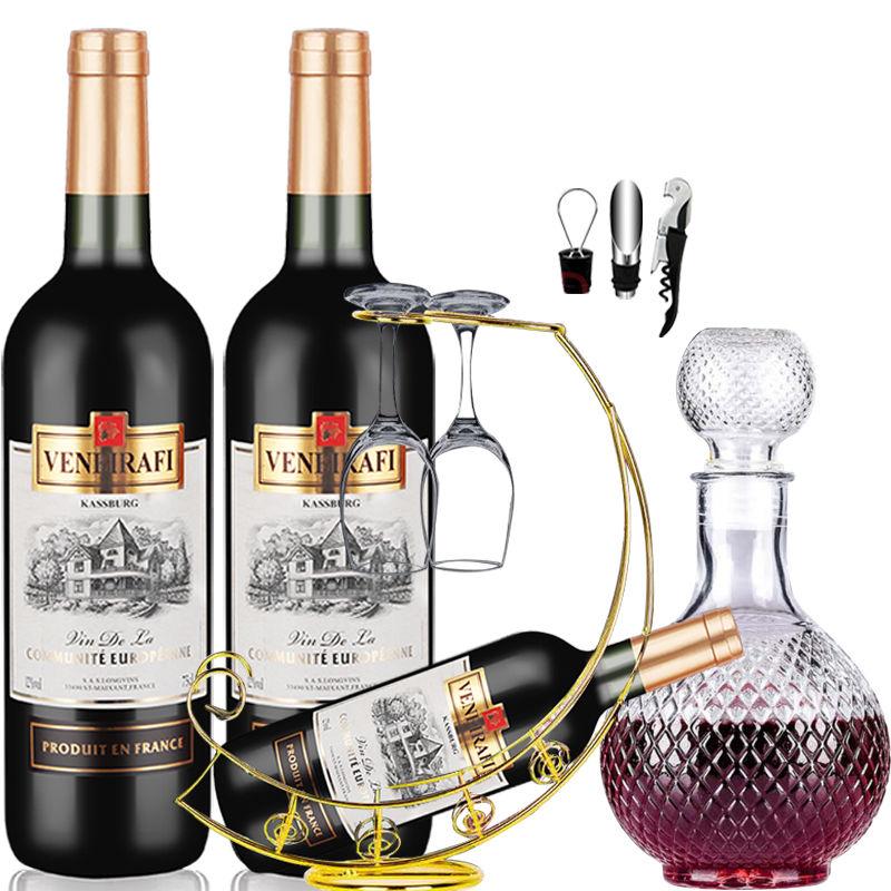 法国原瓶进口红酒威尼波尔多AOC干红葡萄酒750ml *2(全套酒具+酒架)